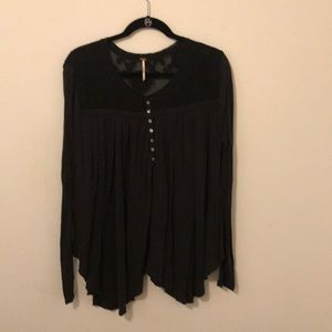 FREE PEOPLE • Black Button Henley